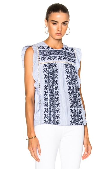 Veronica Beard Cece Embroidered Eyelet Ruffle Top in Blue & White Stripe