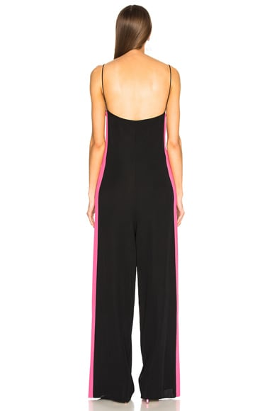 Stretch Viscose Jumpsuit with Contrast Bands
