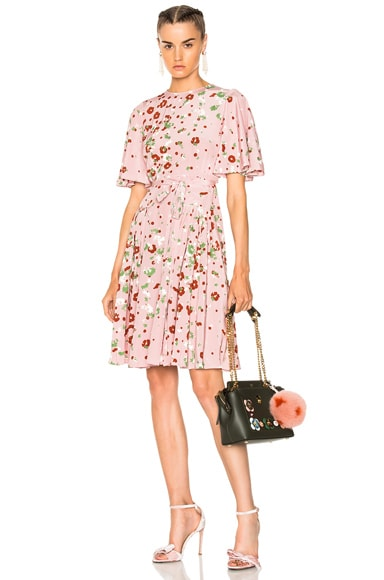 Daisy Print Crepe de Chine Mini Dress Valentino