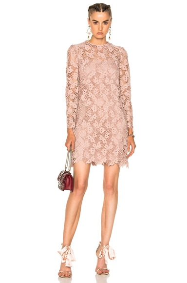 Embellished Lace Long Sleeve Dress Valentino