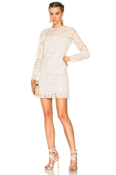 Heavy Lace Long Sleeve Mini Dress Valentino