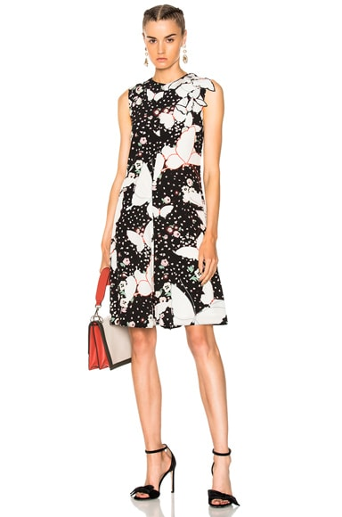 Butterfly Print Crepe de Chine Sleeveless Dress Valentino