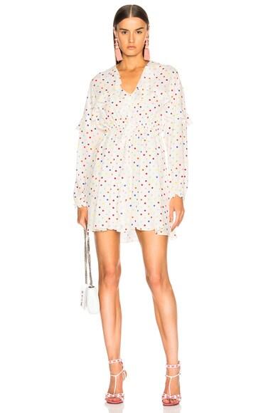 Polka Dot Ruffle Trim Mini Dress
