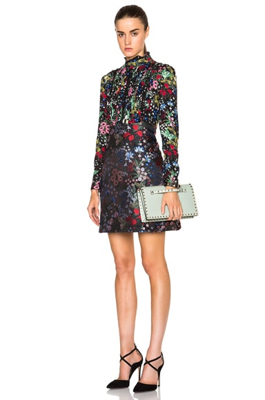 Valentino Floral Georgette Dress with Jacquard Skirt in Black