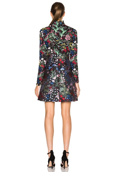 Floral Georgette Dress with Jacquard Skirt