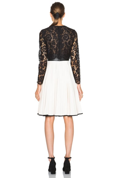 Heavy Lace Long Sleeve Dress with Plisse Skirt