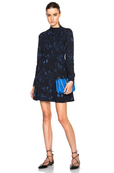 Valentino Butterfly Printed Georgette Dress in Navy