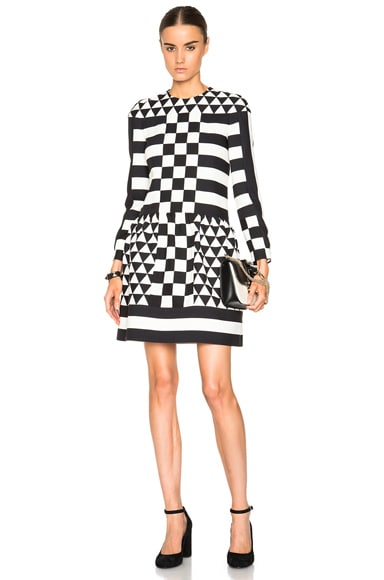 Valentino Graphic Triangle Stripe Crepe Couture Dress in Black & Ivory
