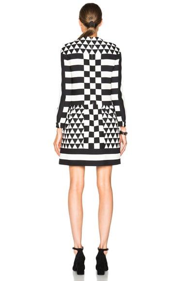 Graphic Triangle Stripe Crepe Couture Dress