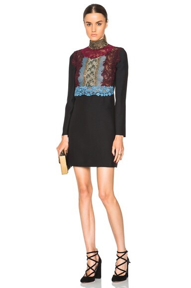 Valentino Macrame Plastron Long Sleeve Dress in Black
