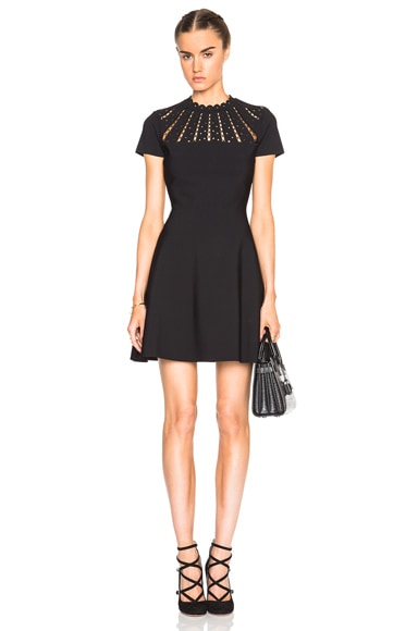 Valentino Cut Out Neck Dress in Black