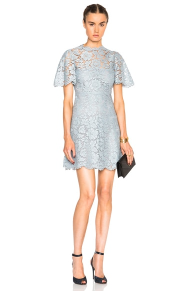 Valentino Flutter Sleeve A Line Lace Dress in Blue