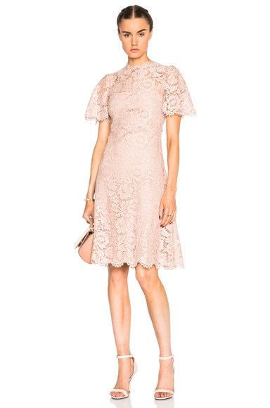 Valentino Tiered Long Lace Dress in Pink