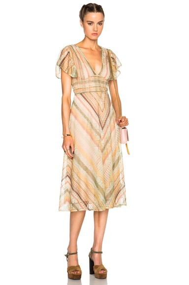 Valentino Flutter Sleeve V Neck Dress with Back Waist Tie in Multi