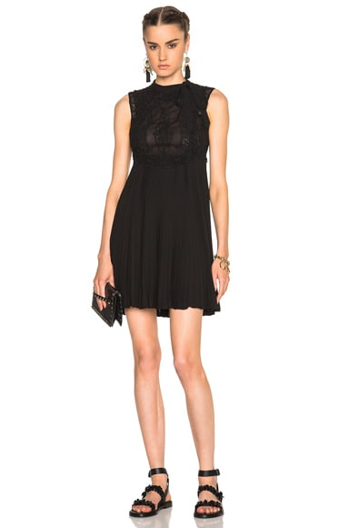 Valentino Sleeveless Dress with Macrame Top in Black