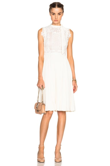 Valentino Sleeveless Dress with Macrame Top in White