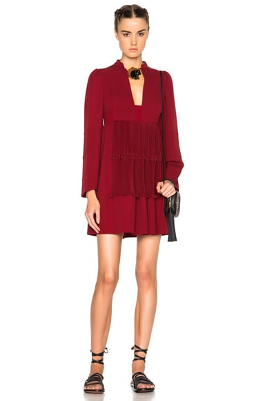 Valentino Long Sleeve Georgette Dress in Red