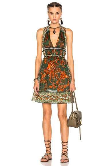 Valentino Pleated V Neck Dress with Leather Painted Details in Multi
