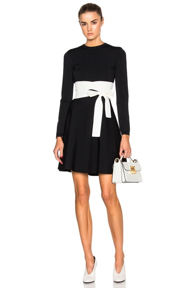 Valentino Wrap Around Sash Dress in Nero & Avorio