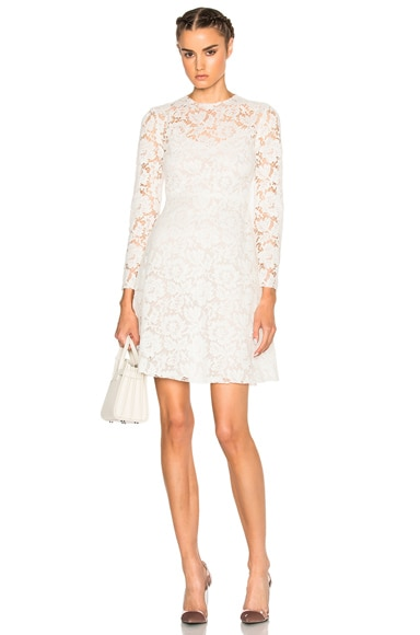 Valentino Long Sleeve Lace Dress in Avorio