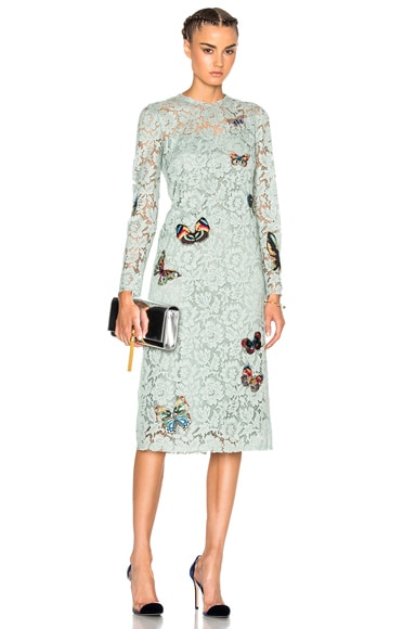 Valentino Long Sleeve Embroidered Dress in Pale Green