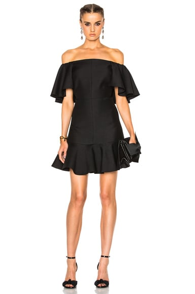 Valentino Crepe Couture Off The Shoulder Dress in Black