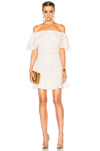 Valentino Heavy Lace Off The Shoulder Dress in Ivory
