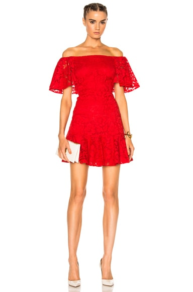 Valentino Heavy Lace Off The Shoulder Dress in Red