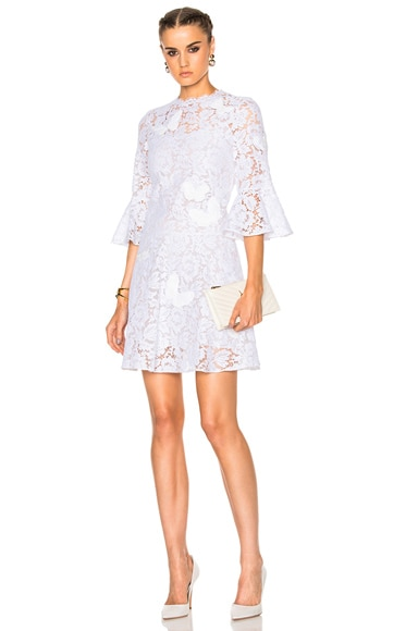 Valentino Embroidered Lace Dress in White