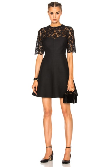 Valentino Heavy Lace & Crepe Couture Dress in Black