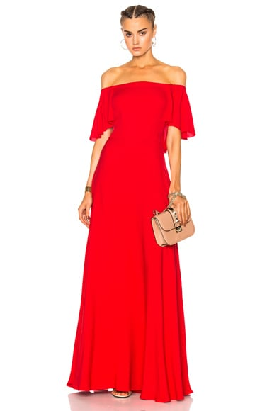 Valentino Off Shoulder Gown in Red
