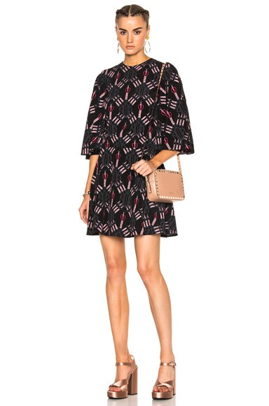 Valentino Heart Print Bell Sleeve Mini Dress in Black