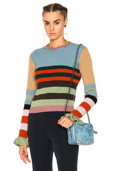 Striped Collared Sweater Valentino