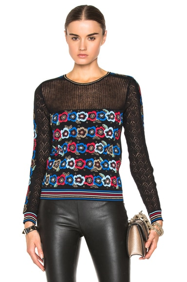 Valentino Floral Jacquard Sweater in Black