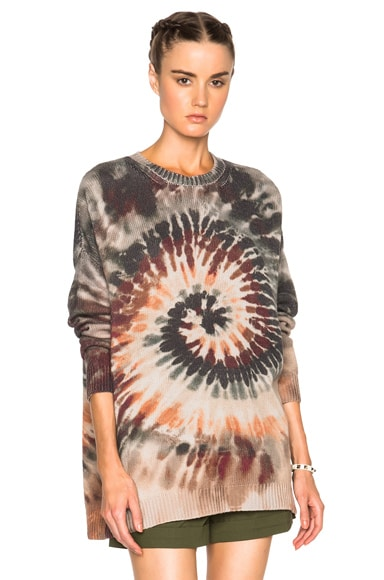 Valentino Oversized Long Sleeve Tie Dye Pullover in Multi
