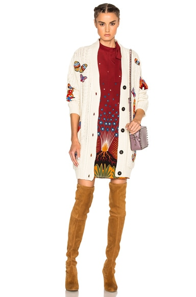 Valentino Embroidered Long Cardigan in Avorio & Multi