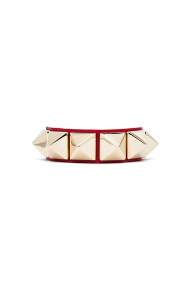 Valentino Medium Rockstud Calfskin Bracelet in Red