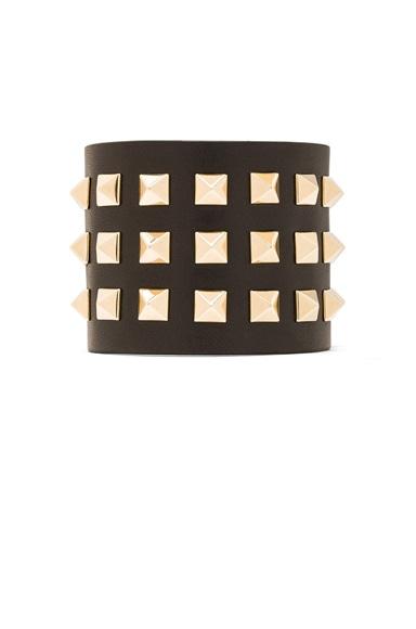 Large Rockstud Calfskin Bracelet
