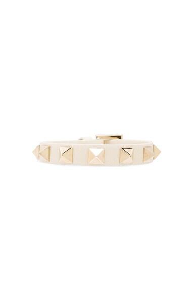 Valentino Small Rockstud Bracelet in Light Ivory