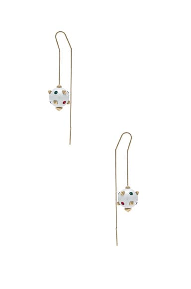 Embellished Pearl Threader Earrings