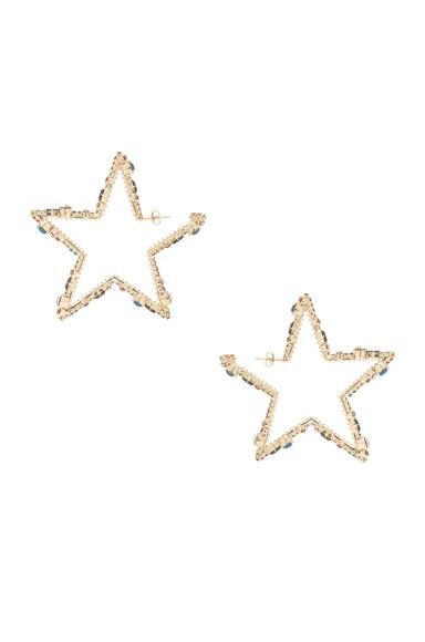 Crystal Embellished V Shine Star Hoop Earrings