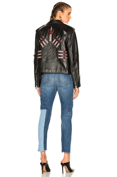 Valentino Heart Embroidered Motorcycle Jacket in Black