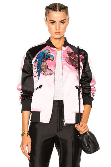 Valentino Embroidered Bomber Jacket in Damas & Black