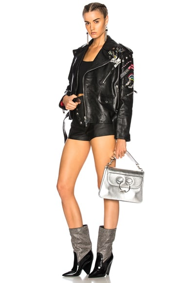 Tattoo Embroidery Leather Jacket