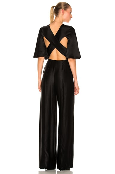 Valentino Flutter Sleeve Cross Back Jumpsuit in Black