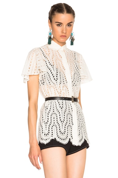 Valentino Short Sleeve Flutter Sleeve Top in Ivory