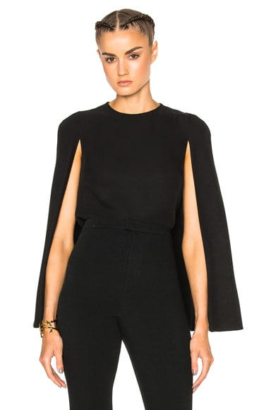 Valentino Cady Top with Cape Detail in Black