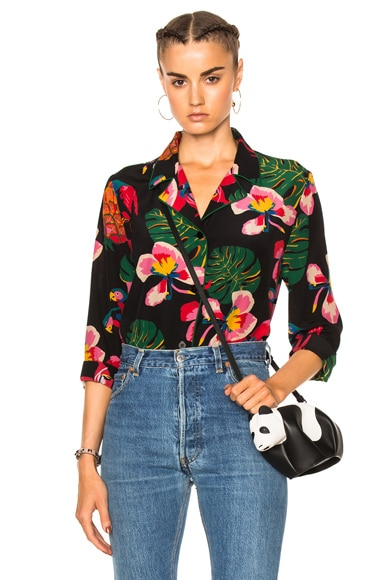Valentino Tropical Dream Blouse in Black