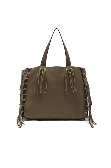 Valentino Rockee Fringe Tote in Army Green
