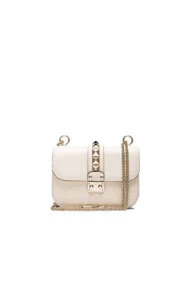 Valentino Small Lock Flap Bag in Light Ivory